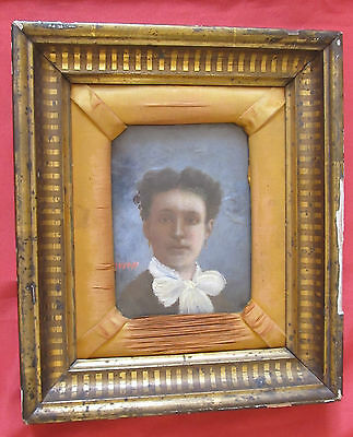 """Beautiful End Oil 19 Th Century """" Portrait of Young Woman """""""