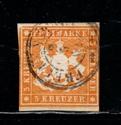 Item No. A6896 – Germany: Wurttemberg – Scott # 15 – Used