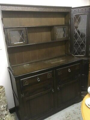 Vintage Dark Wood Welsh Dresser With Leaded Glass Doors - Shabby Chic Project