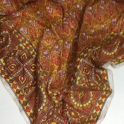 Authentic Vintage Women's Silk Scarf - Made in India - Hand Rolled Edges