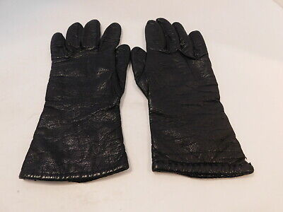 *Saks Fifth Avenue Ladies Black Leather Winter Gloves Cashmere Lining Size 6.5