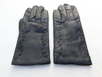 *Grandoe Ladies Black Leather Winter Gloves Knit Lining Size 7