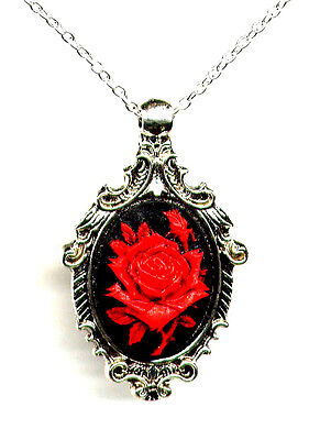 ANTIQUE SILVER Red Rose CAMEO Pendant Necklace Victorian Style *Mourning Black