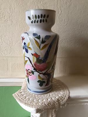 Vintage Hand Painted Oriental Milk Glass Vase With Birds / Flowers
