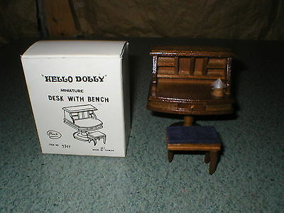Vintage Doll House Miniature Hello Dolly Wood Desk with Bench