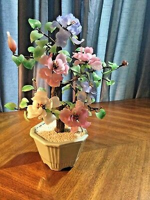 Beautiful Vintage Chinese Asian Bonsai Tree with Glass Flowers