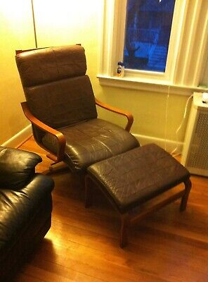 Westnofa Teak Leather Lounge Chair Ottoman Danish Mid Century Modern