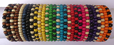 Job Lot X 30 Mens Wooden Tribal / Surfer Elastic Bead Bracelets - NEW