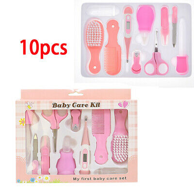 Pink Baby Grooming Kit Infant Nursery Set Baby Cleaning Healthcare Kits 10pcs UK