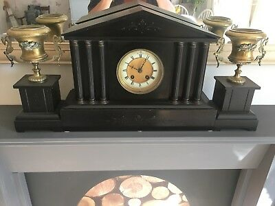 C19 Slate Garniture Mantel Clock- Pediment and Columns- Brass- Antique Victorian