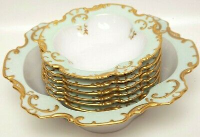 Antique Limoges Fruit Bowl and Berry Bowls Mint Green Raised Encrusted Gold Hand