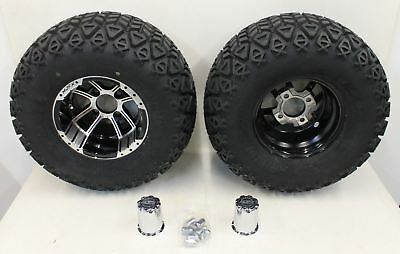 NEW MADJAX Apex Black Chrome 22x11-10 Golf Cart 4-PLY Tyre Wheel Rim Combo Pair