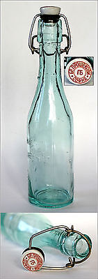Antique Bulgarian BROTHERS PROSHEK Lemonade Glass Bottle Porcelain Cap 1920's