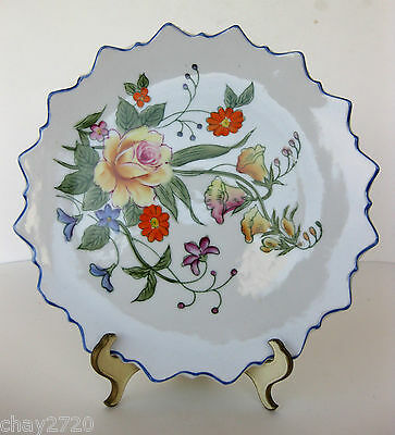 Vintage Scalloped Edge Norleans China Made In Japan Floral Display Plate
