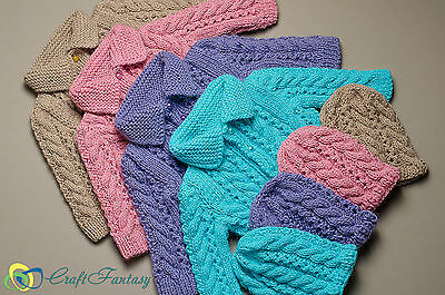 New Hand Knitted Baby Cable Pattern Cardigan and matching Hat for Newborn