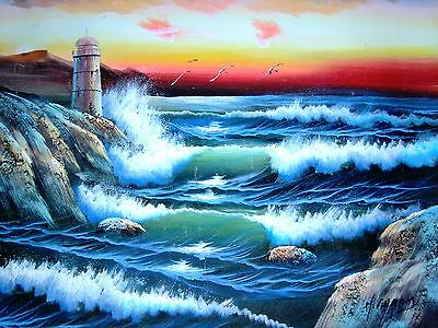 Lighthouse Waves Ocean Sunset Seaside 20 x 24 Hand Painted Oil Painting Canvas