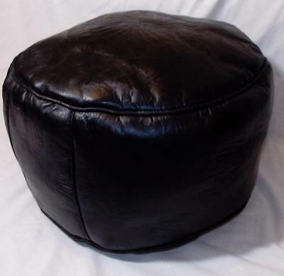 Fair Trade Black Leather Pouffe Footstool New Hand Made From Marrakesh Morocco