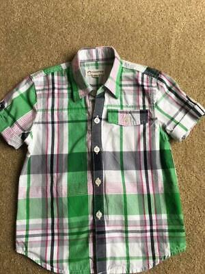 APPAMAN Short Sleeve Button Down Green White Plaid Shirt Toddler Boy Size 3T