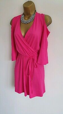 114aad85d2 Lipsy BNWT Hot Pink Fuchsia could shoulder cut out frill sexy plunge playsuit  14