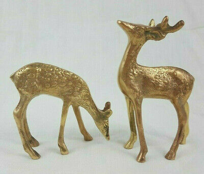 2pc Pair Vintage Solid Brass Deer Doe Buck Figurine Home Decor Christmas Holiday