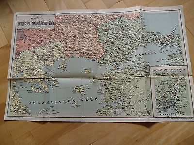 Old Original Antique Lithographic Map European Turkey and adjacent areas