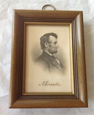 Antique 1880's Etching Engraving Abraham Lincoln Signed Print C.B. Hall Frame 7""
