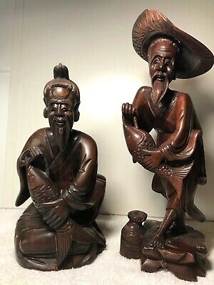 TWO ANTIQUE CARVED WOOD CHINESE SCULPTURES with FISH