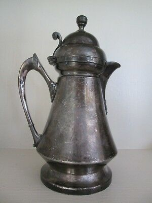 "Wilcox Meriden Quadruple Silver Plate Cream Milk Pitcher Jug 7"" pat'd 1875 1878"