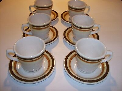 6 Buffalo Pottery Restaurant Cafeteria Food Service Coffee Cups and Saucers