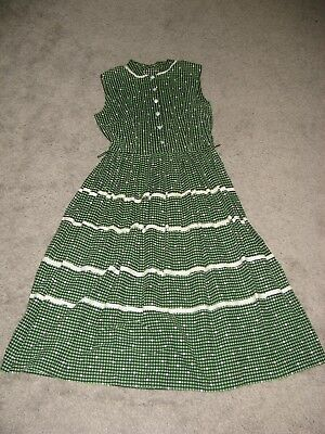 Vintage 1960's or 70s Casual Sleeveless Dress SMALL Handmade Lace Trim