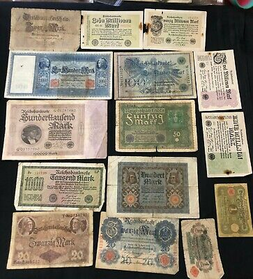 German lot of 15 pcs banknotes circulated 1909 - 1923