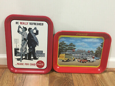 "Coca-Cola Serving Tray Lot, ""Be Really Refreshed"", ""Sign of Good Taste"" Renfroe"