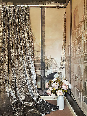 """MTM Single Door Curtain 102""""W 113""""D Silver Crushed Velvet Lined & Interlined"""