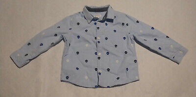 NWT Gymboree Blue Skull Button Up Shirt Baby Toddler Boy