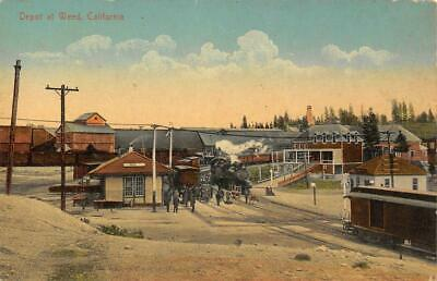 Weed, Siskiyou County, CA Steam Train, Railroad Depot ca 1910s Vintage Postcard
