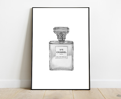 Chanel Perfume Bottle Print Art Grey For Home Decor A4