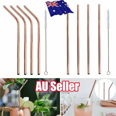 Rose Gold Metal Drinking Straws Stainless Steel Straw Bent /Straight 215mm  ON