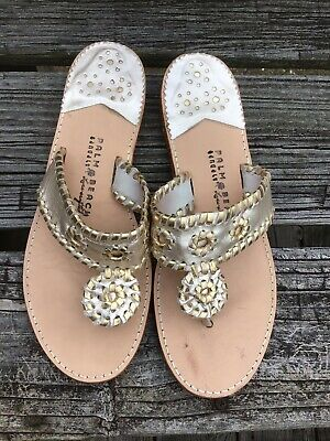 513978a65 Palm Beach Luxecrafted Whipstitch Metallic Silver Gold Thong Sandals Women s  9.5
