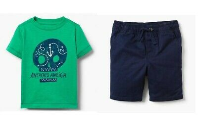 NWT Gymboree Anchors Away Skull Tee Navy Blue Shorts Outfit 2T Toddler Boy