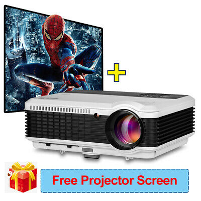 Hd 4500lm Led Projector Home Theater Movie Party Hdmi Bundle Screen 100 7500 1