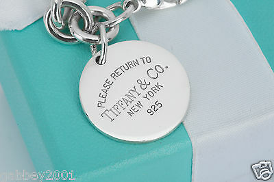 """Please Return to Tiffany & Co. Sterling Silver Round Tag Charm 7.5"""" Bracelet"""