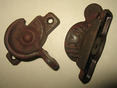 Pair of Matching Old Antique Cast Iron Victorian Window Sash Locks East Lake