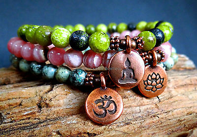 Set bracelets African turquoise, rhodochrosite with copper Buddha, lotus & OM