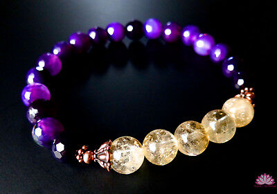 Natural citrine and purple agate bracelet w/ copper Tiffany beads prosperity