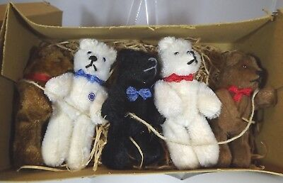 Vintage 1940s/50s Boxed Set of 5 Small Rod-Jointed German Mohair Teddy Bears