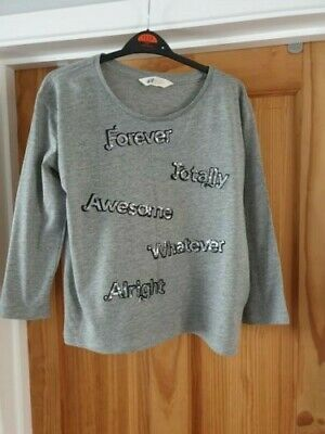 H & M Girl's Grey Long-Sleeved Top with Sequinned Writing (14 Years) - VGC