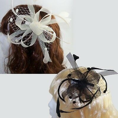 Giorno Del Matrimonio Anello, Rete & Mesh Fascinator On Clear Pettine con Piume