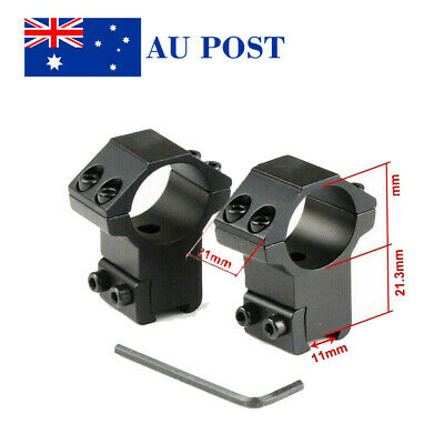High Profile 1Pair 30mm Ring Scope 11mm Rail Mount Fit Airsoft Hunting Black