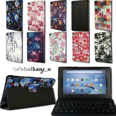 For Amazon Fire HD 8 With Alexa Leather Stand Cover Case + Bluetooth Keyboard