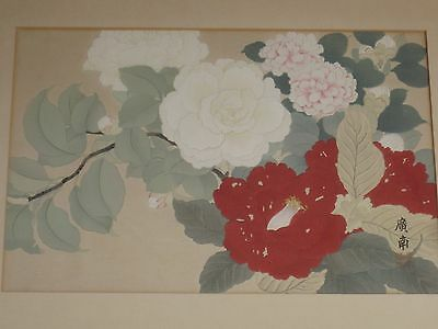 Antique Oriental Japanese Chinese Floral Woodblock Print